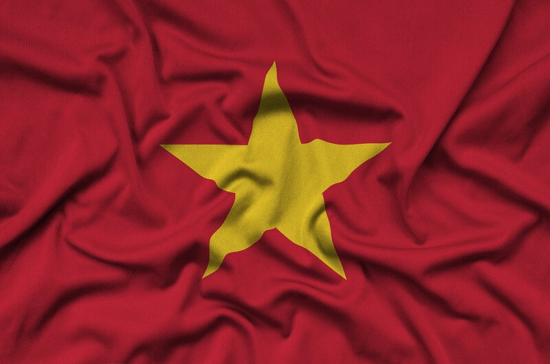 Vietnam Flag Is Depicted On A Sports Cloth Fabric With Many Folds. Sport Team Banner